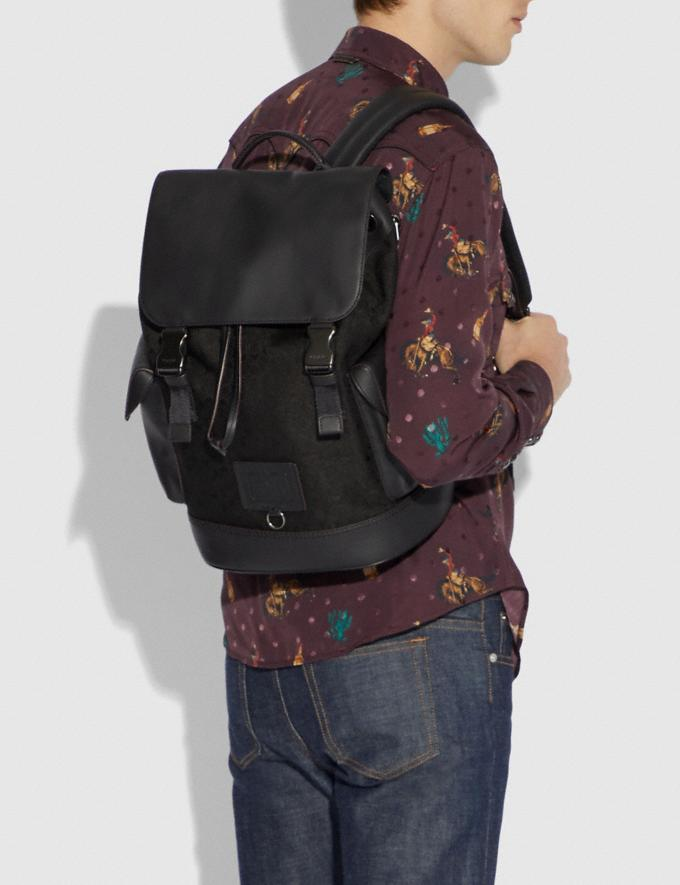 Coach Rivington Backpack in Signature Jacquard Black/Black Copper Finish Men Bags Backpacks Alternate View 3