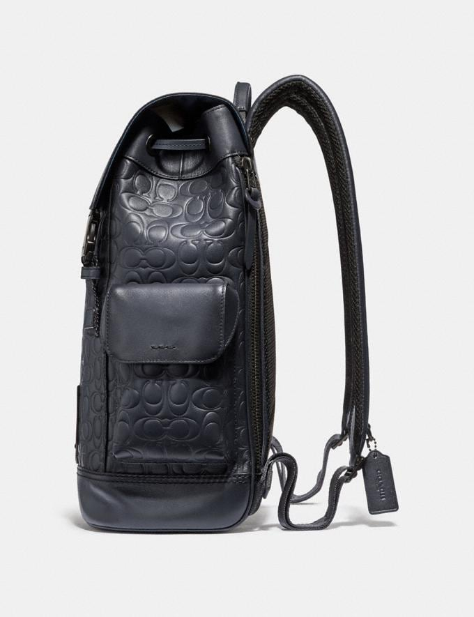 Coach Rivington Backpack in Signature Leather Midnight Navy/Black Copper Finish Men Bags Backpacks Alternate View 1