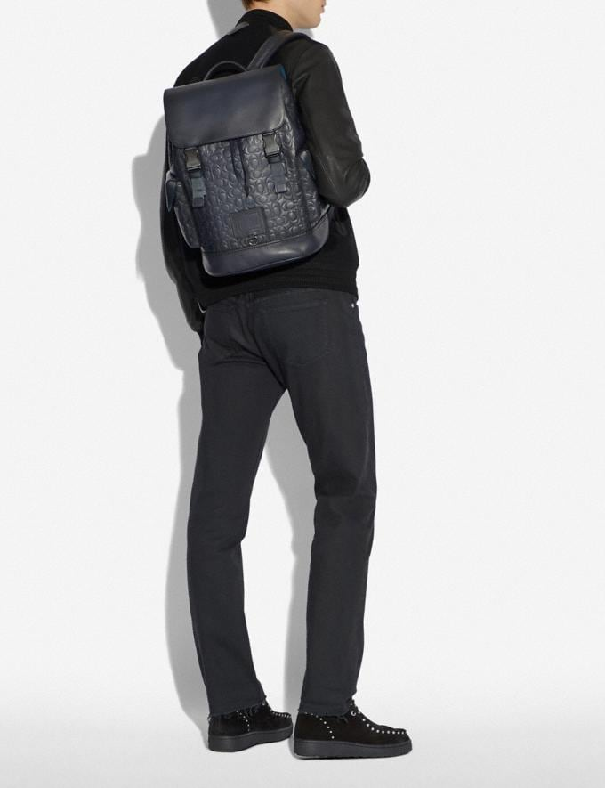 Coach Rivington Backpack in Signature Leather Midnight Navy/Black Copper Finish Men Bags Backpacks Alternate View 3