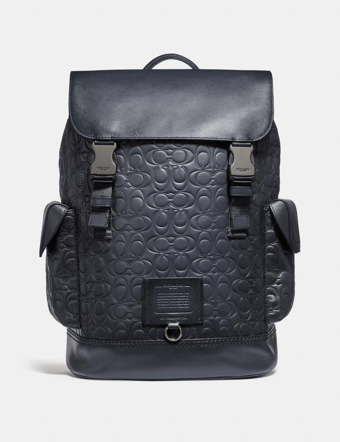Coach Rivington Backpack in Signature Leather Midnight Navy/Black Copper Finish Men Bags Backpacks