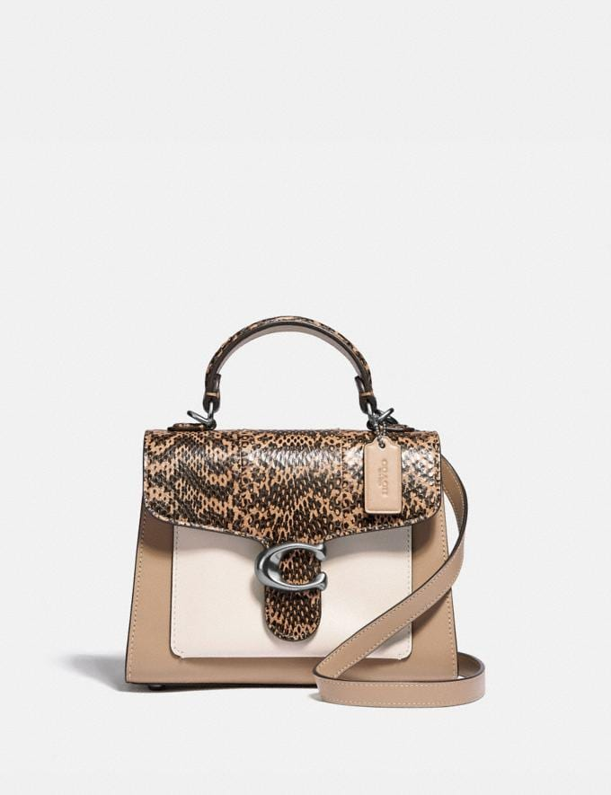 Coach Tabby Top Handle 20 in Colorblock With Snakeskin Detail Silver/Taupe Multi New Women's New Arrivals View All