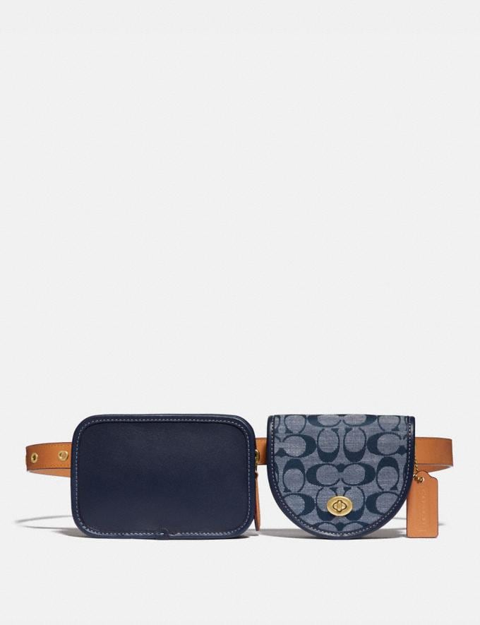 Coach Turnlock Convertible Multi Bag in Signature Chambray Denim Men Bags Messenger & Crossbody