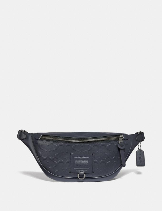 Coach Rivington Belt Bag in Signature Leather Midnight Navy/Black Copper Finish New Men's New Arrivals