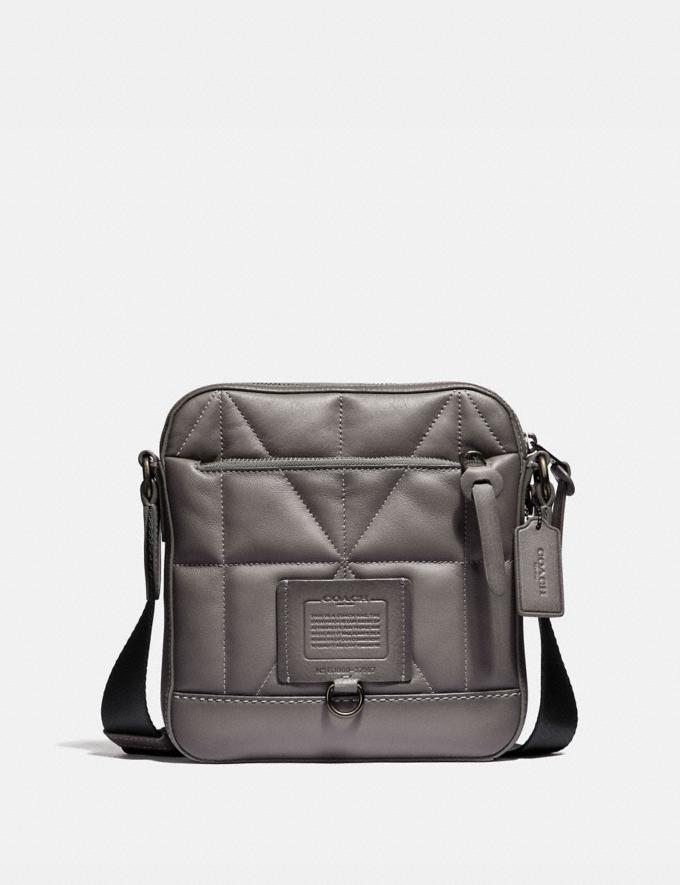 Coach Rivington Crossbody With Quilting Heather Grey/Black Copper Finish Men Bags Messenger Bags