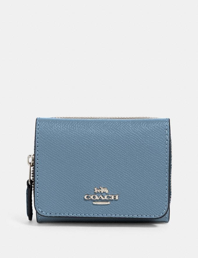 Coach Small Trifold Wallet Sv/Slate Clearance