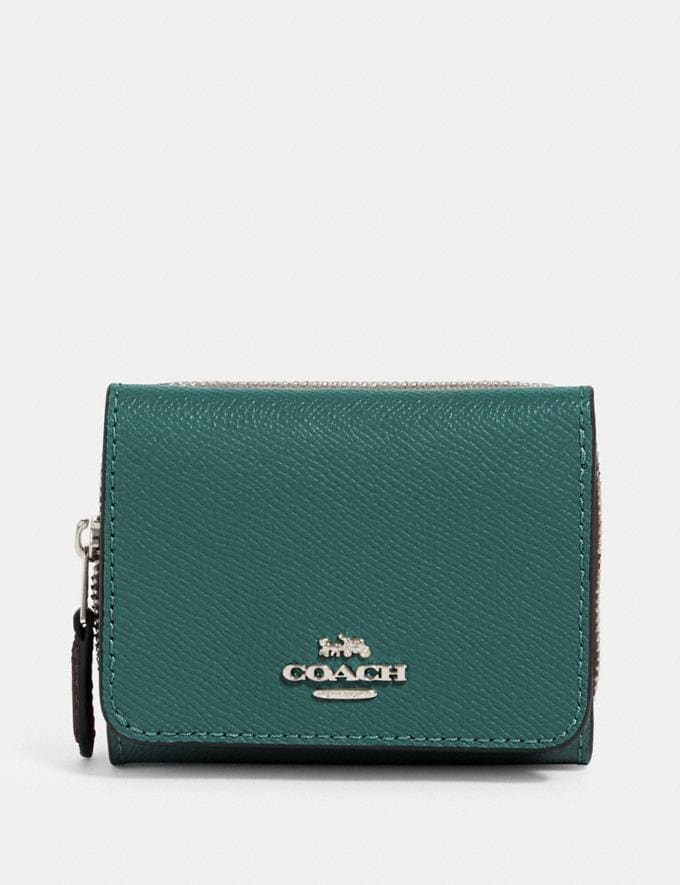 Coach Small Trifold Wallet Sv/Dark Turquoise Clearance