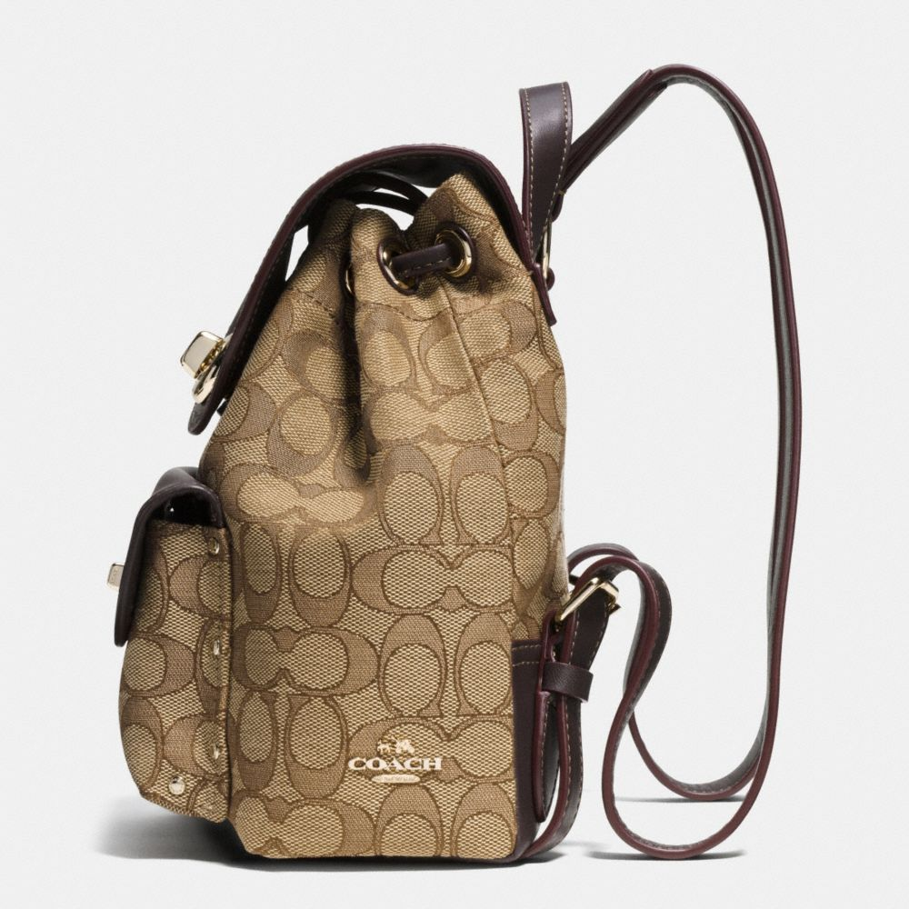 Coach Mini Turnlock Rucksack in Signature Jacquard Alternate View 1