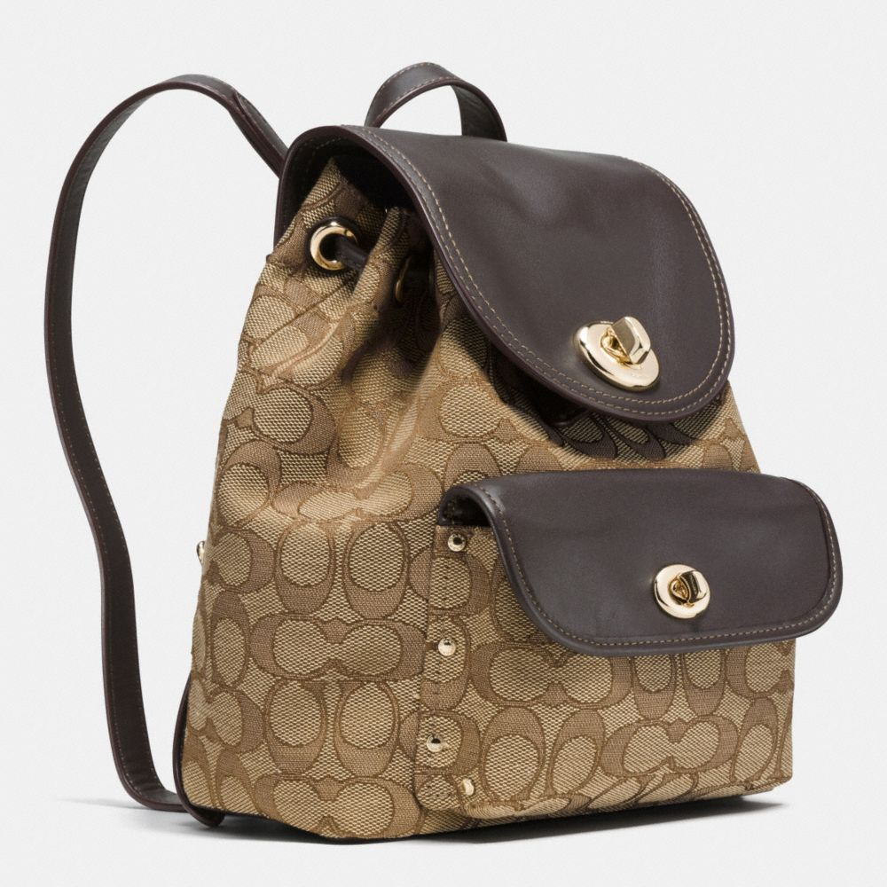Coach Mini Turnlock Rucksack in Signature Jacquard Alternate View 2