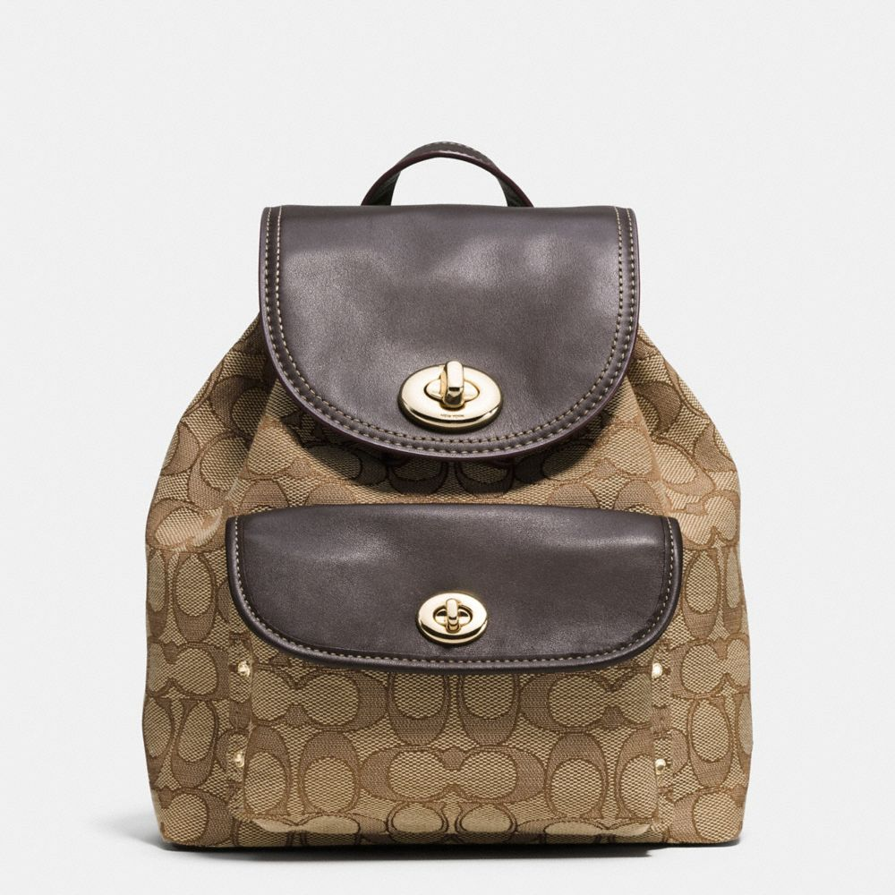 Coach Mini Turnlock Rucksack in Signature Jacquard