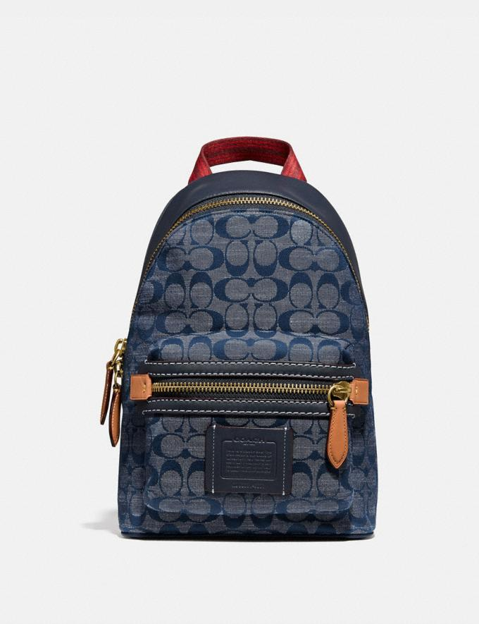 Coach Academy Pack in Signature Chambray Brass/Chambray Men Bags Backpacks