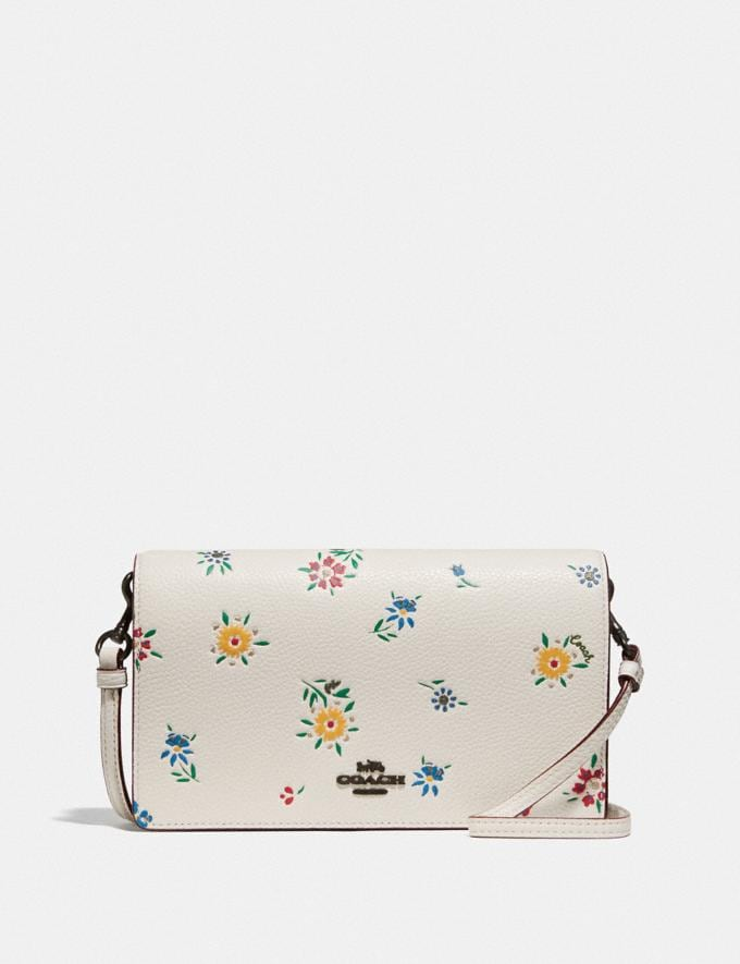 Coach Hayden Foldover Crossbody With Wildflower Print Pewter/Chalk Women Wallets & Wristlets
