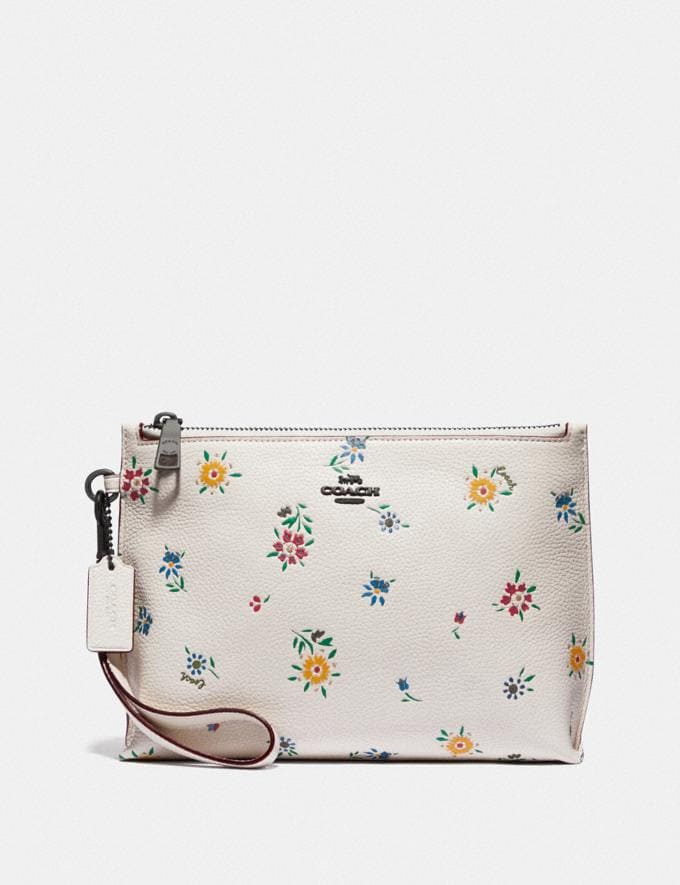Coach Charlie Pouch With Wildflower Print Pewter/Chalk SALE Women's Sale Wallets & Wristlets