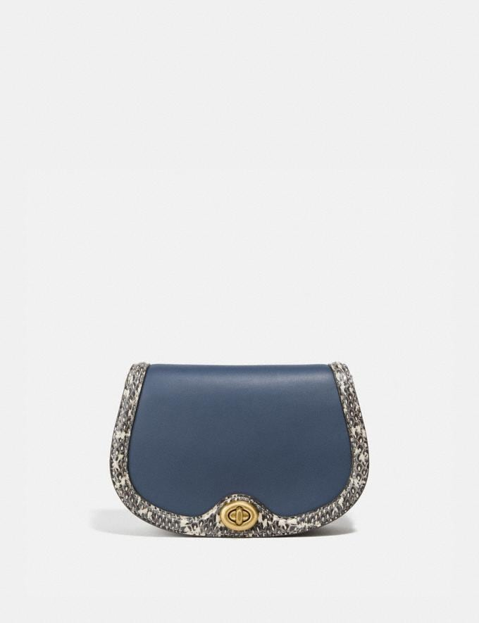 Coach Saddle Belt Bag in Colorblock With Snakeskin Detail Brass/Dark Denim Multi Women Handbags Belt Bags