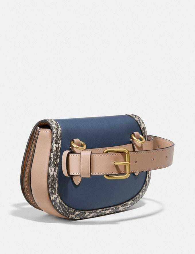 Coach Saddle Belt Bag in Colorblock With Snakeskin Detail Brass/Dark Denim Multi Women Handbags Belt Bags Alternate View 1