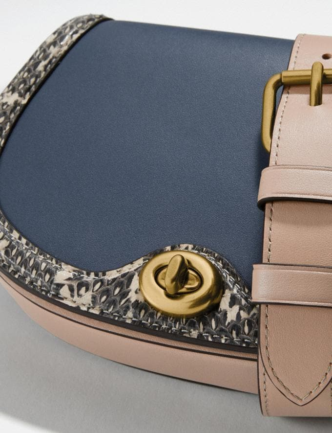 Coach Saddle Belt Bag in Colorblock With Snakeskin Detail Brass/Dark Denim Multi Women Handbags Belt Bags Alternate View 3