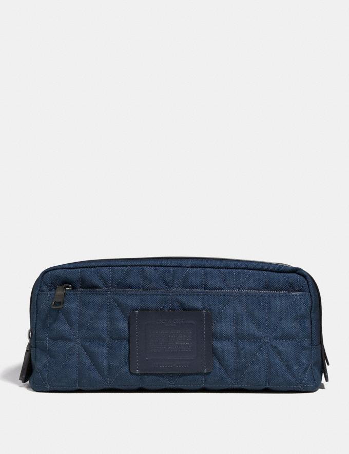 Coach Double Zip Dopp Kit With Quilting Cadet/Black Men Accessories Tech & Travel
