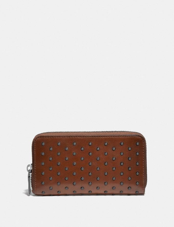 Coach Zip Around Phone Wallet With Rivets Saddle