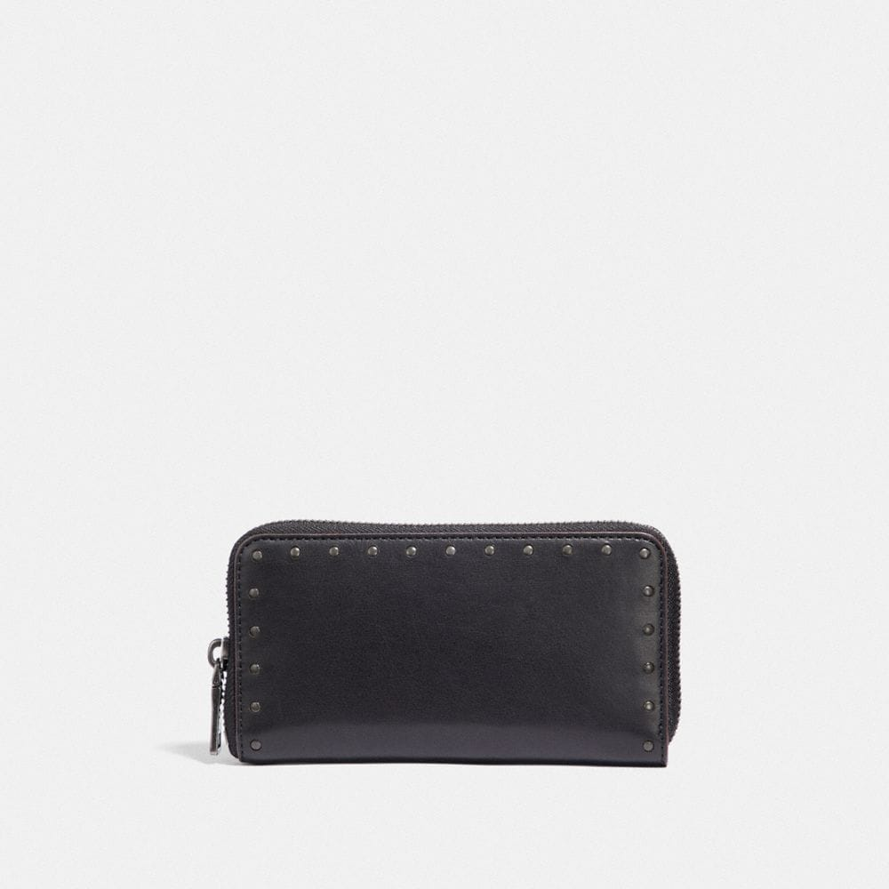 Coach Zip Around Phone Wallet With Rivets