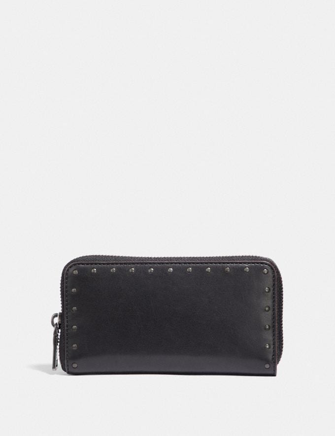 Coach Zip Around Phone Wallet With Rivets Black