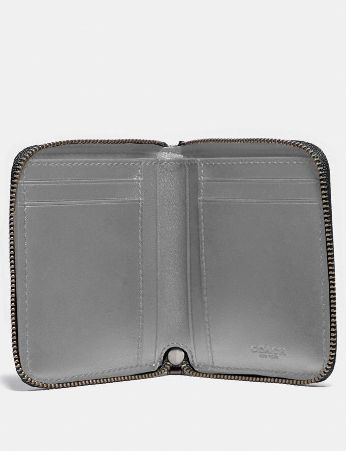 Coach Small Zip Around Wallet With Quilting Cadet/Heather Grey Men Wallets Card Cases Alternate View 1