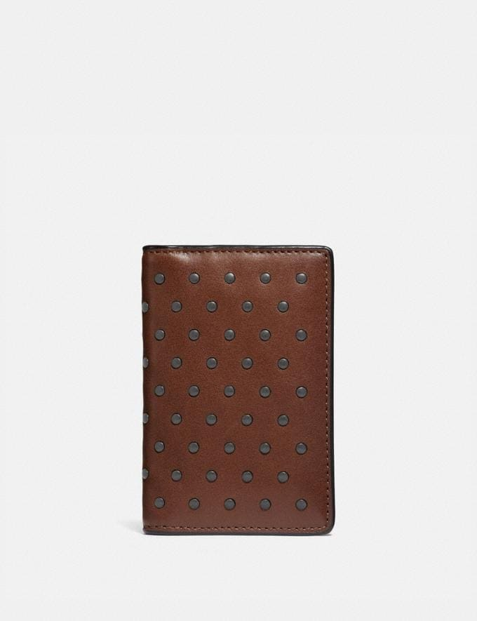 Coach Card Wallet With Rivets Saddle Men Wallets