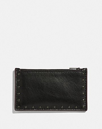 ZIP CARD CASE WITH RIVETS