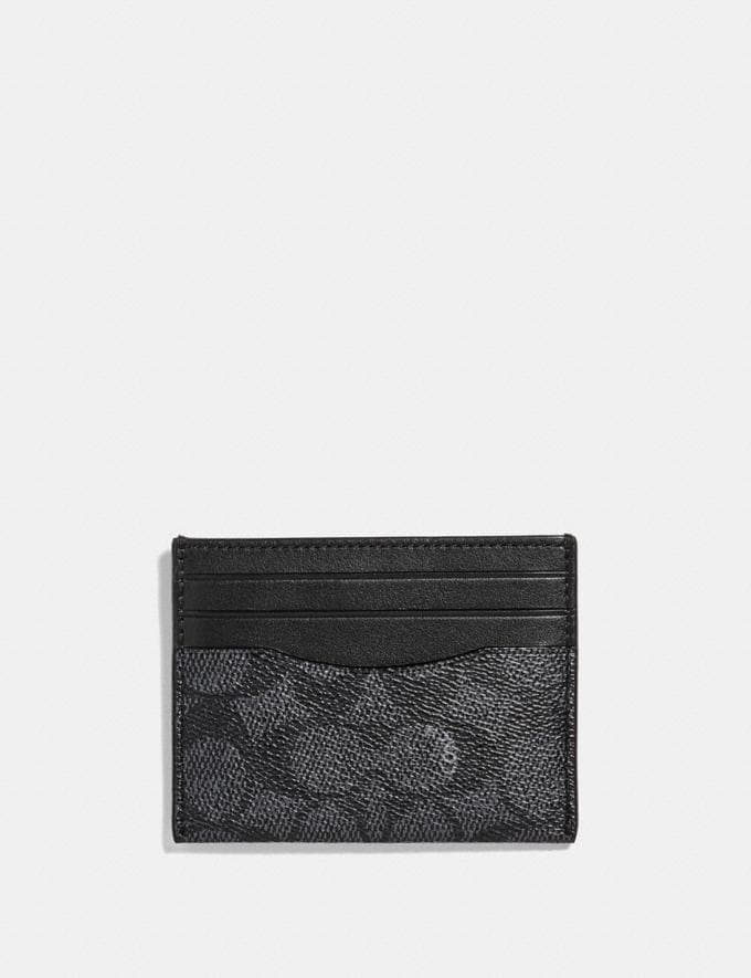 Coach Card Case in Signature Canvas Charcoal Women Wallets & Wristlets
