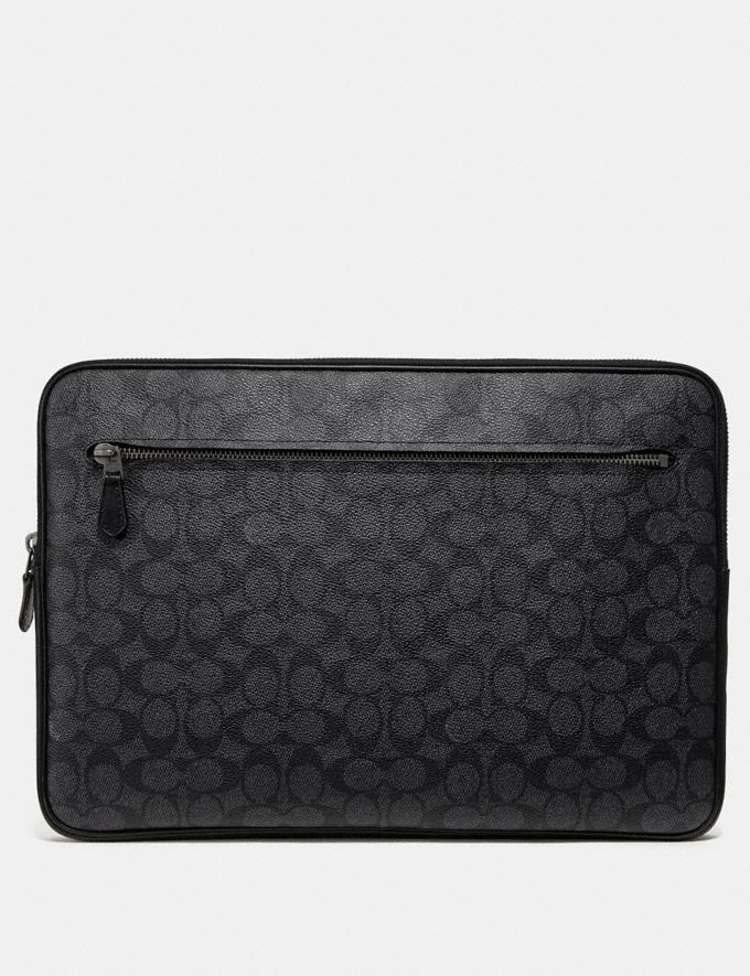 Coach Laptop Case in Signature Canvas Charcoal Cyber Monday Men's Cyber Monday Sale Accessories