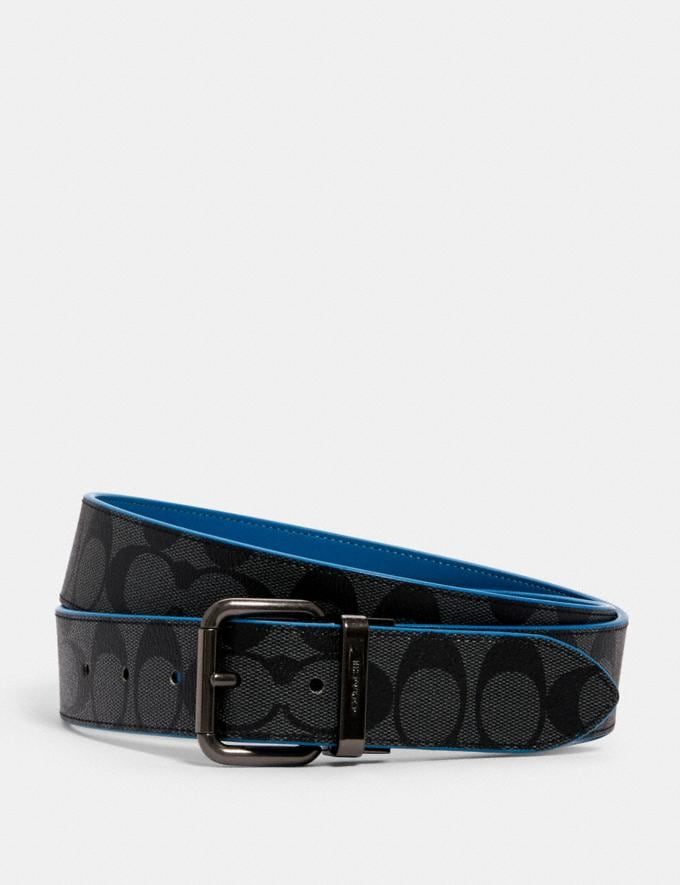 Coach Harness Buckle Cut-To-Size Reversible Belt, 38mm Qb/Charcoal Blue Jay