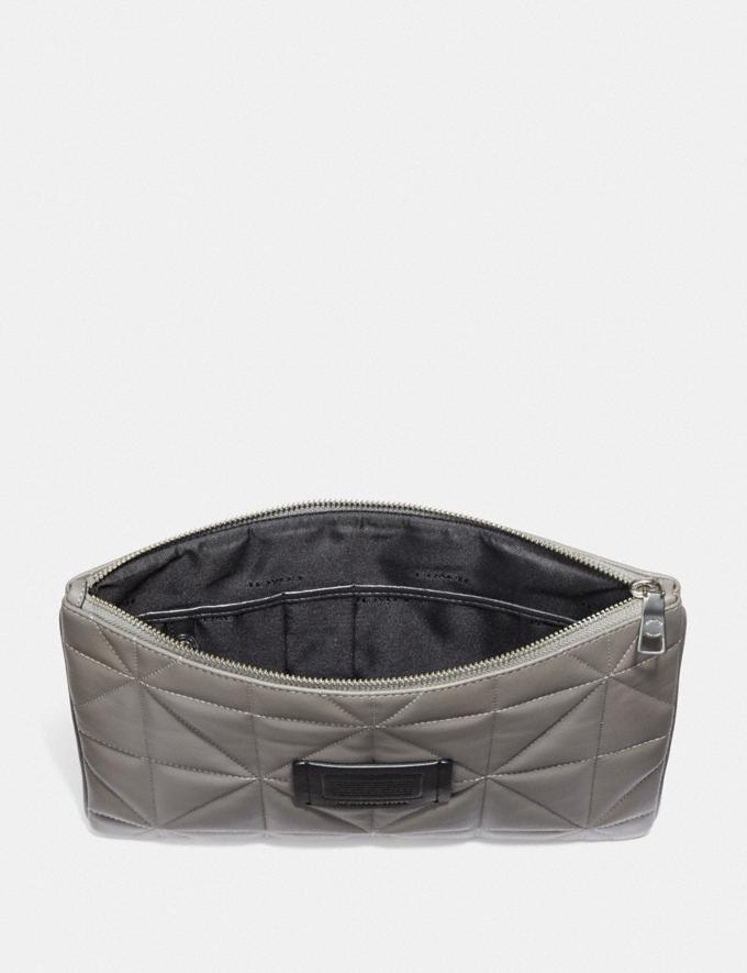 Coach Large Multifunctional Pouch With Quilting Heather Grey/Black/Nickel Men Accessories Tech & Travel Alternate View 1