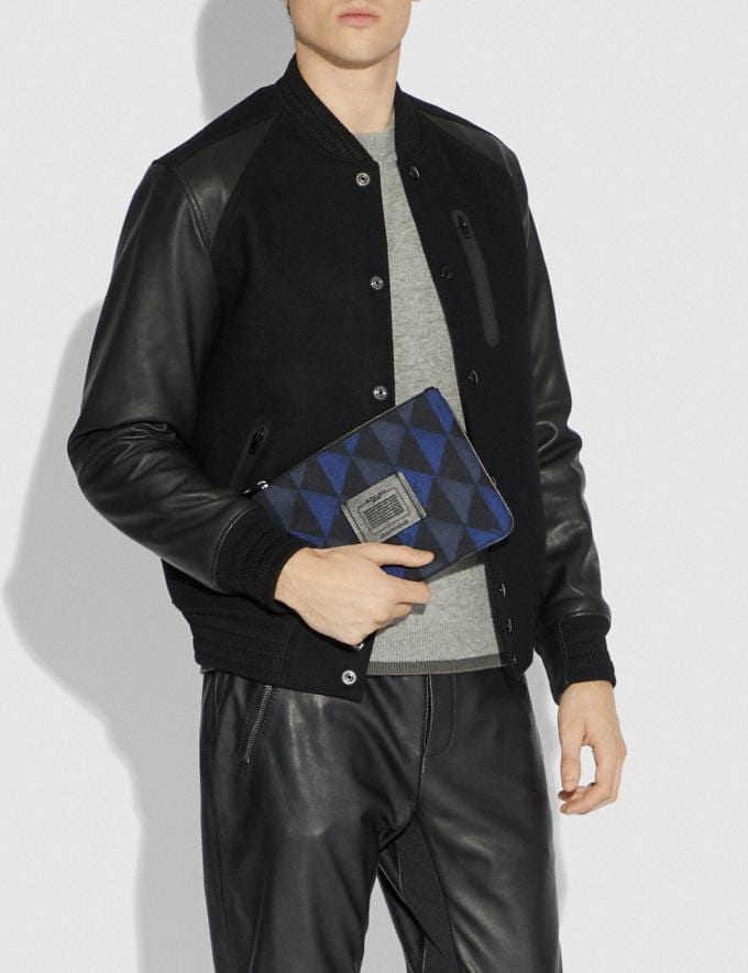 Coach Multifunctional Pouch With Geo Print Black/Denim Men Accessories Tech & Travel Alternate View 2
