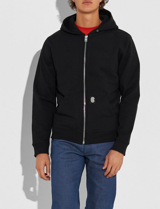 Coach Coach Full Zip Hoodie Black Men Ready-to-Wear Tops & Bottoms Alternate View 1
