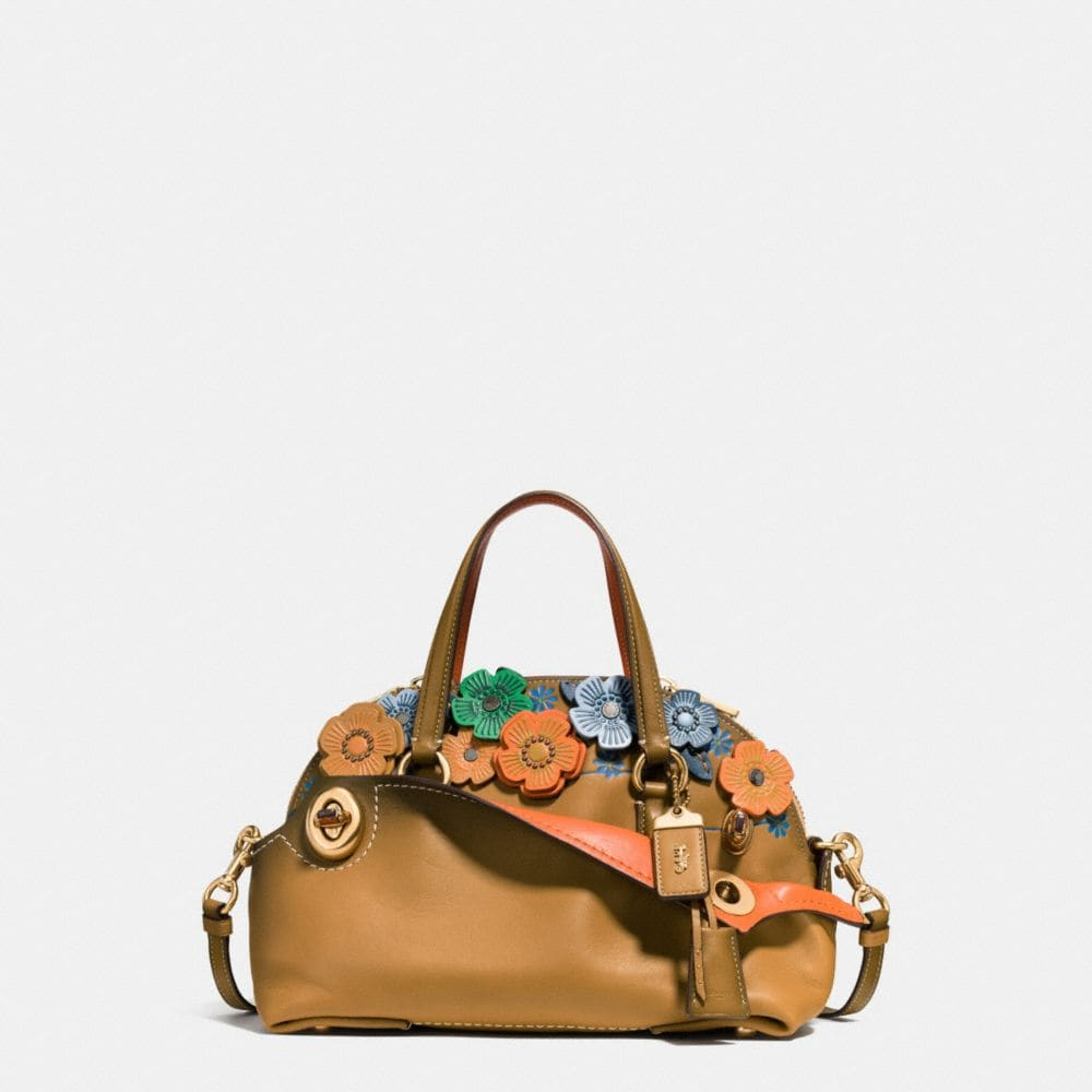 TEA ROSE APPLIQUE OUTLAW SATCHEL 36 IN GRAIN LEATHER