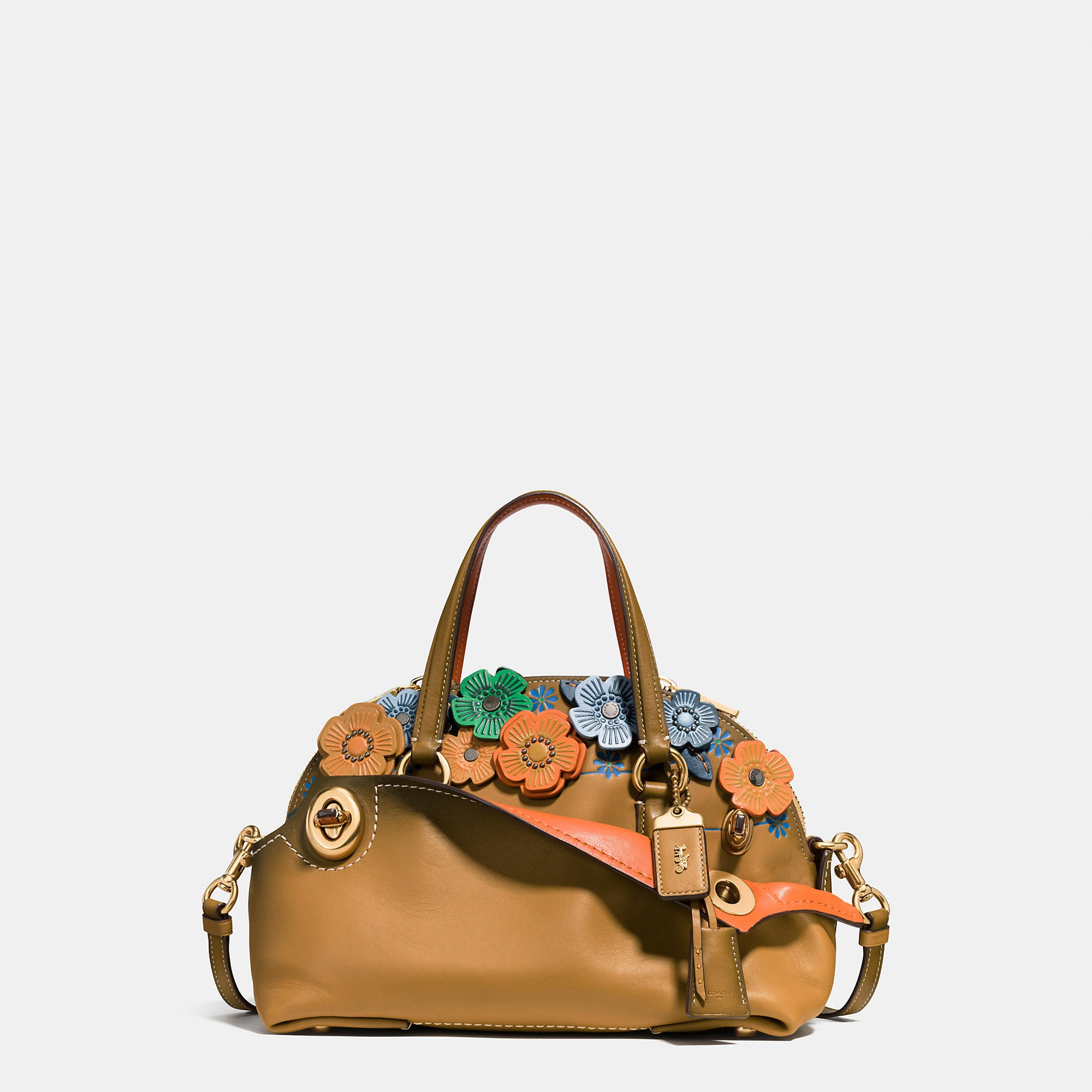 Coach 1941 Tea Rose Applique Outlaw Satchel 36 In Grain Leather