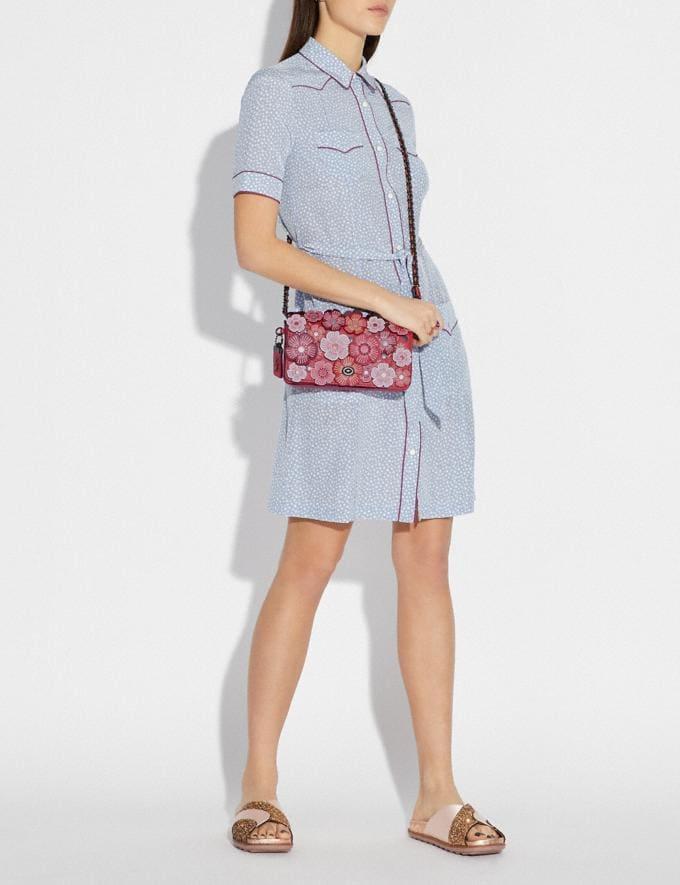 Coach Dinky With Tea Rose Brass/Chalk Women Bags Crossbody Bags Alternate View 3