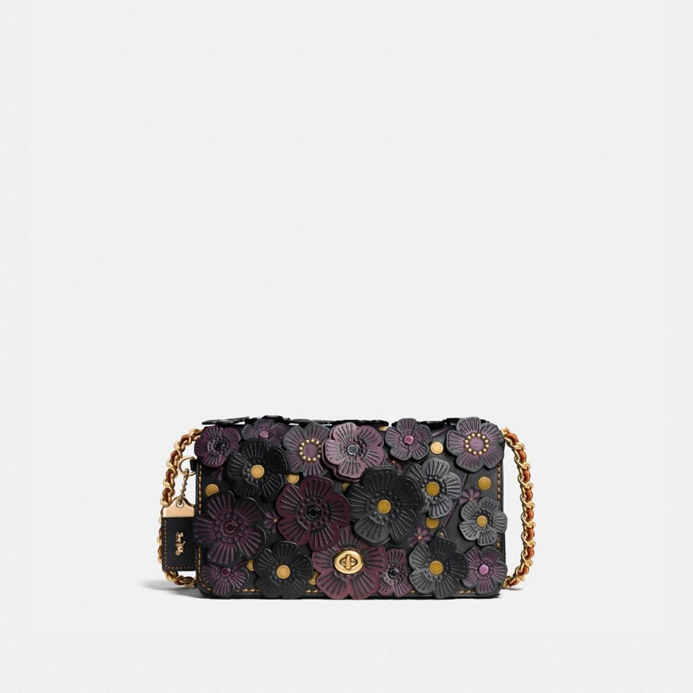 TEA ROSE APPLIQUE DINKY CROSSBODY IN LEATHER