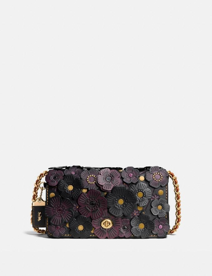 Coach Dinky With Tea Rose Black/Brass Women Bags Crossbody Bags
