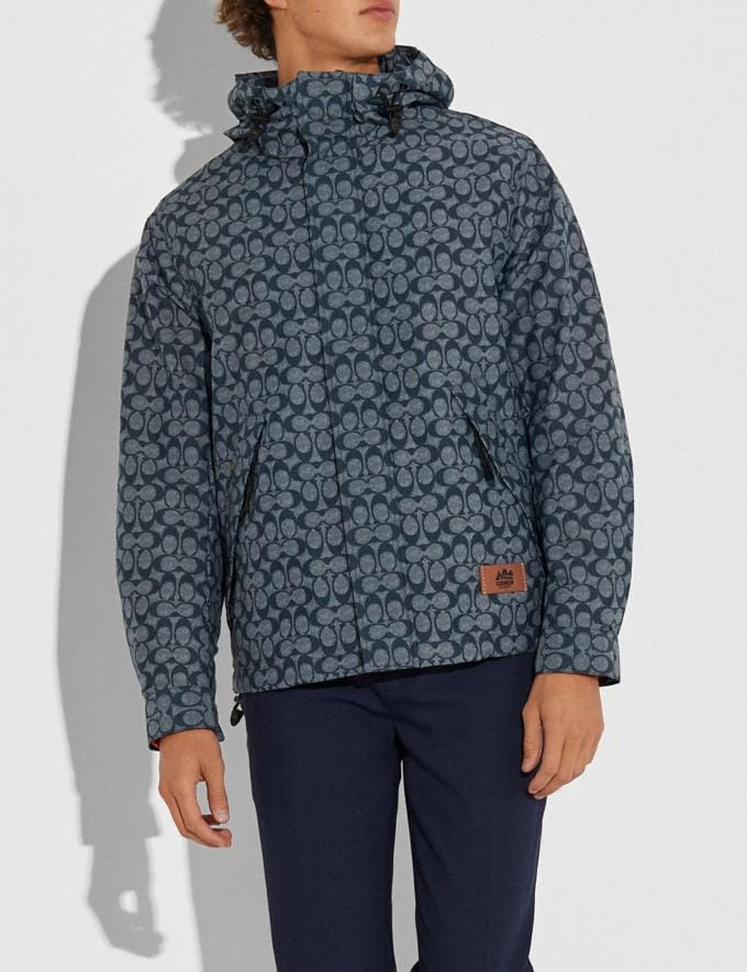 Coach Packable Windbreaker Chambray Signature Men Ready-to-Wear Jackets & Outerwear Alternate View 1