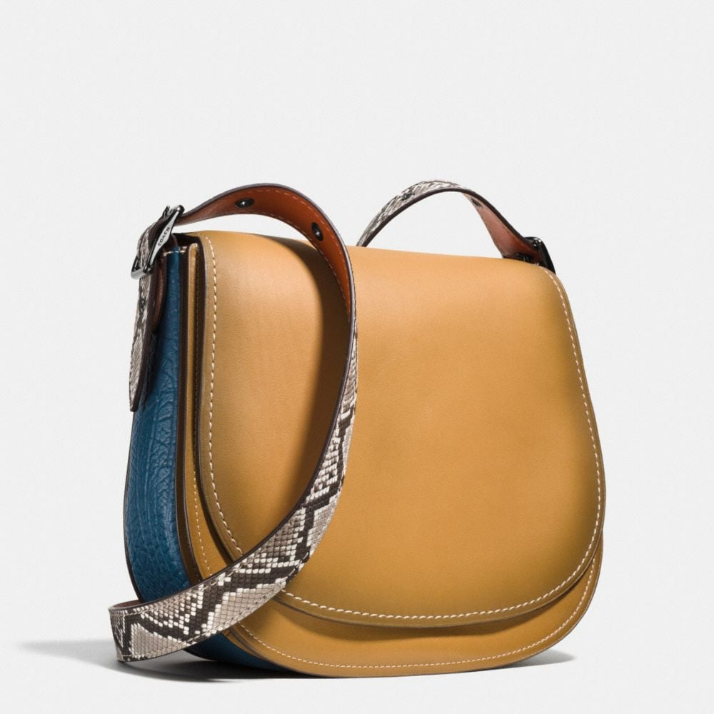 SADDLE BAG IN PYTHON COLORBLOCK LEATHER - Alternate View A3