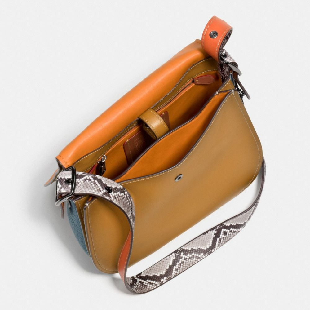 Saddle Bag in Python Colorblock Leather - Alternate View A4