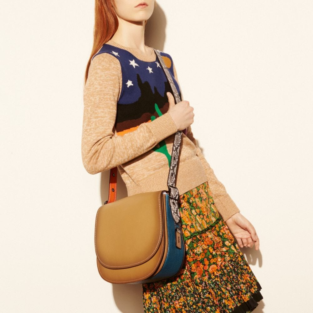 SADDLE BAG IN PYTHON COLORBLOCK LEATHER - Alternate View A5