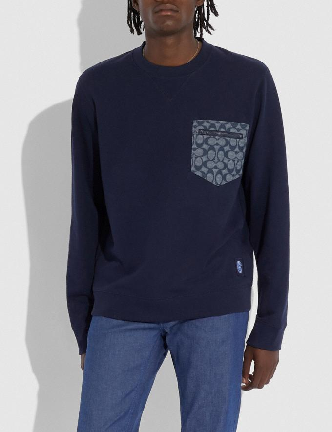 Coach Signature Essential Sweatshirt Navy/Chambray Men Ready-to-Wear Clothing Alternate View 1