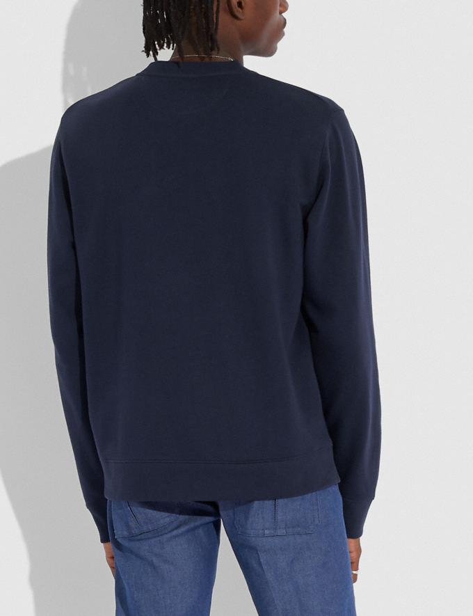 Coach Signature Essential Sweatshirt Navy/Chambray Men Ready-to-Wear Clothing Alternate View 2