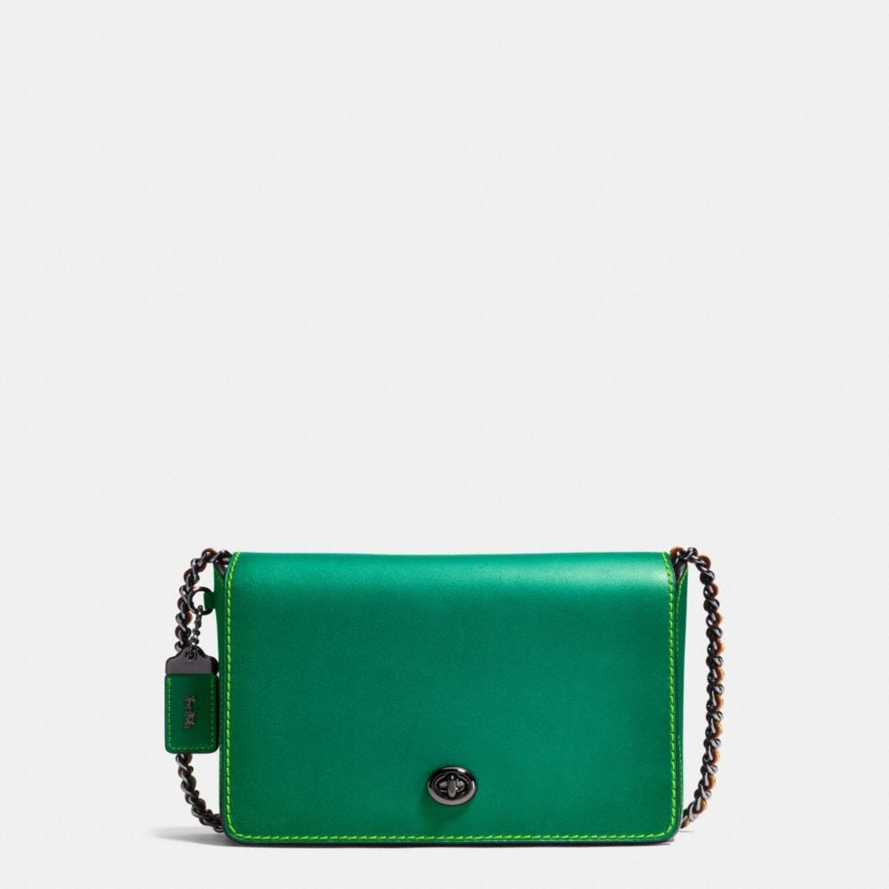 Dinky Crossbody 24 in Burnished Glovetanned Leather in the color of the summer parakeet green