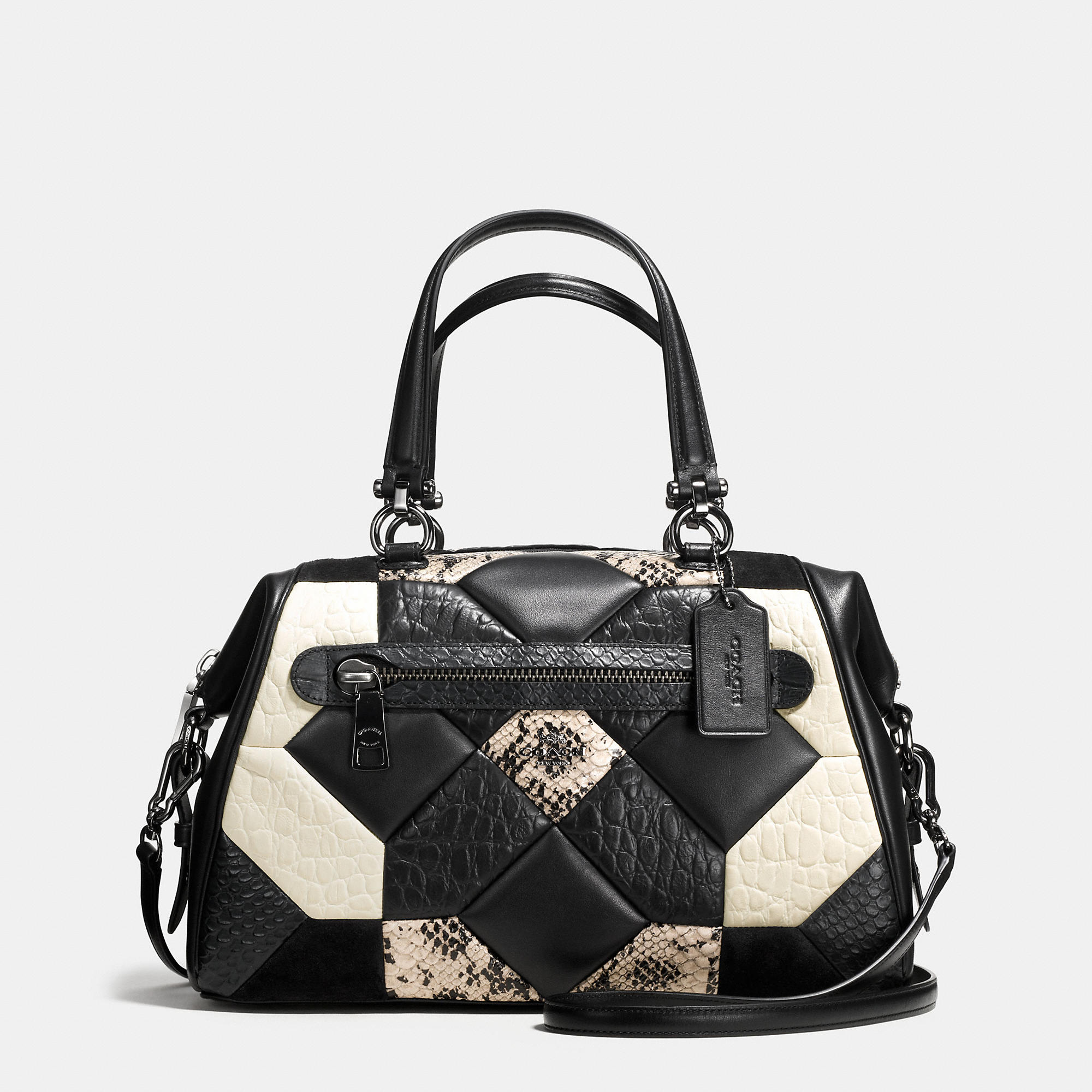 Coach Canyon Quilt Primrose Satchel In Exotic Embossed Leather