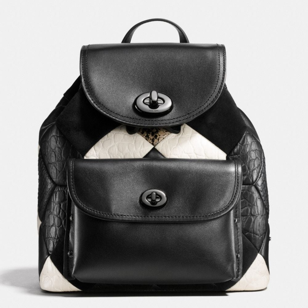 CANYON QUILT MINI TURNLOCK RUCKSACK IN EXOTIC EMBOSSED LEATHER