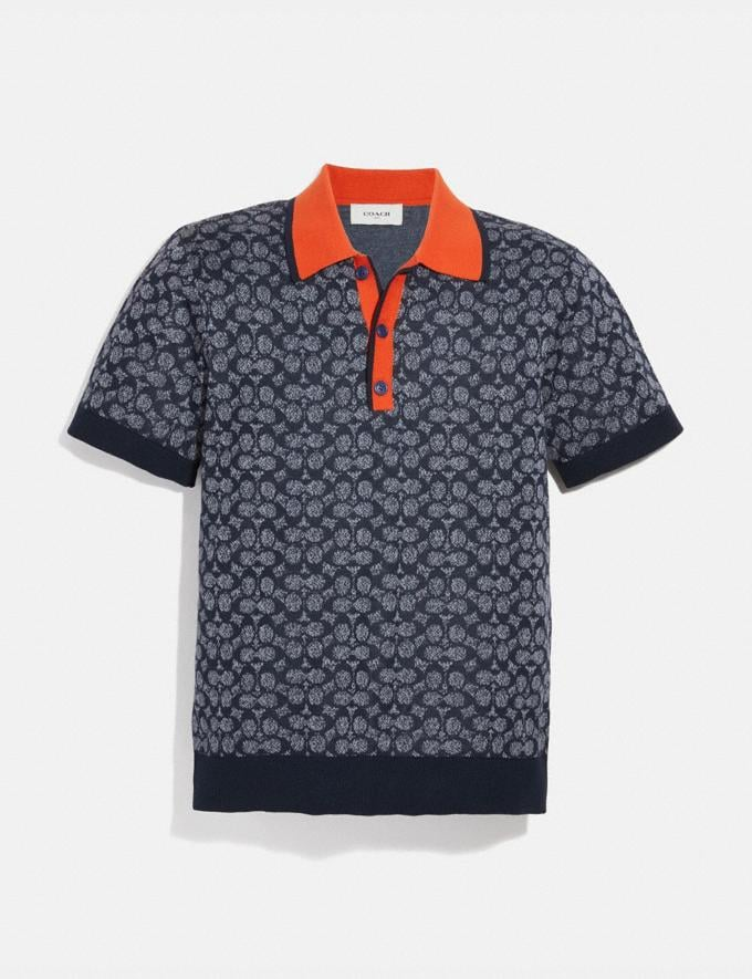 Coach Signature Knit Polo Chambray Signature Men Ready-to-Wear Clothing