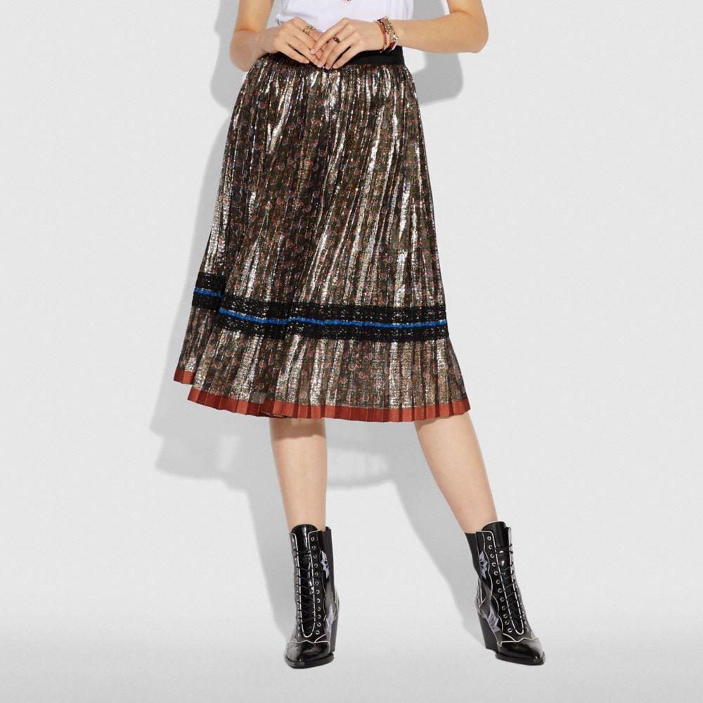 Coach Daisy Print Pleated Skirt Alternate View 1