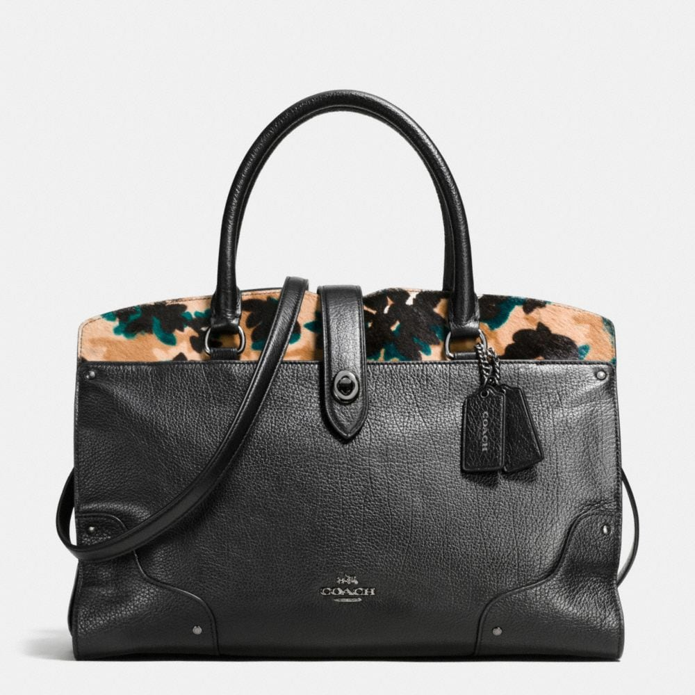 Coach Mercer Satchel in Printed Haircalf