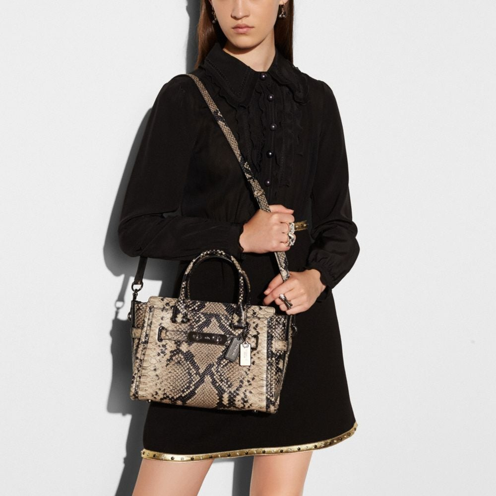 Coach Coach Swagger 27 Carryall in Snake-Embossed Leather Alternate View 4